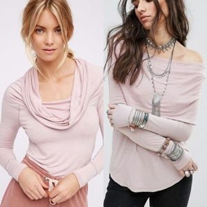 Free People Pink Cosmo Cowl Top
